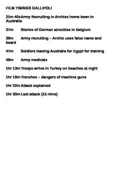Gallipoli Film 1981 Data Capture Sheets