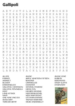 Gallipoli Word Search