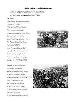 Gallipoli by Bruce Dawe - a Close Study of Text.