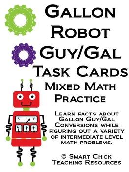 Gallon Robot Math Task Cards! (set of 20)  Mixed Math Practice