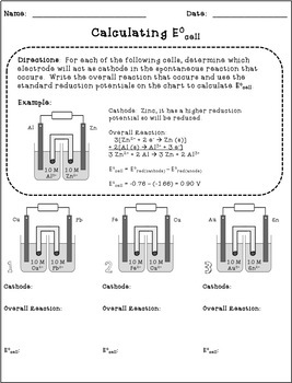 Galvanic Cells:  Standard Reduction Potential & Ecell Handout and Worksheet