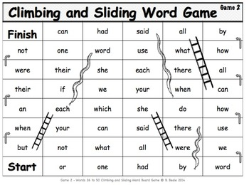Game 2 - Fry Words 26-50 Climbing and Sliding Word Board Game