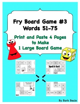 Game 3 - Fry Words 51 - 75 Spell It Out Board Game - 10 pages