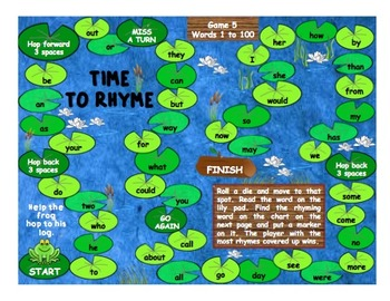 Game 5 - Fry Words 1-100 - Time To Rhyme - 13 pages