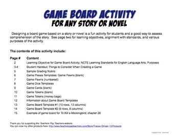 Game Board Activity Lesson for ANY Story or Novel