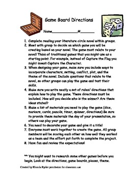 Game Board Directions with Rubric for Novel Assessment