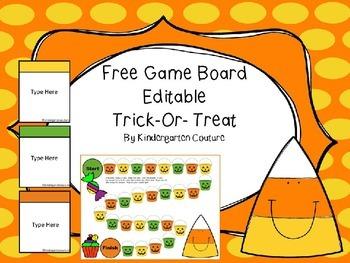 Game Board Editable -Trick-Or-Treat (Freebie)