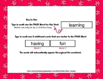 Game Board - Editable Word Worksheet w/ Theme Focus