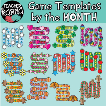 Game Board Graphics - Holiday TEMPLATES for DIY