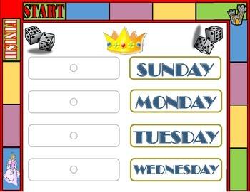 Game Board Theme Weekday Chart! Board Game Bulletin Board! Days of the Week Game