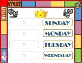 Game Board Theme Weekday Chart! Board Game Bulletin Board! Days of the Week Game