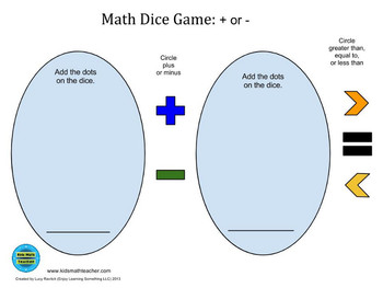 Game Board for Math Dice Game: + or -