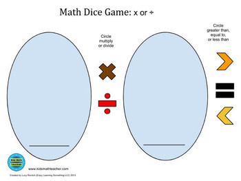 Game Board for Math Dice Game: x or ÷