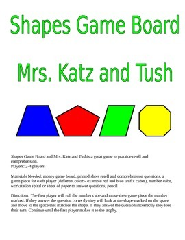 Game Board with Shapes: Mrs. Katz and Tush by Patricia Polacco
