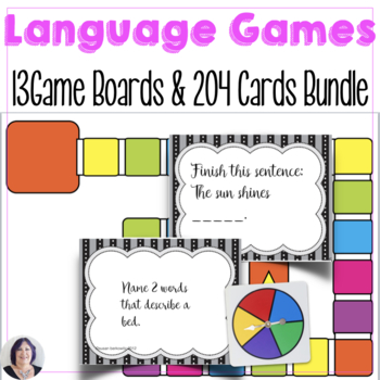 Game Boards and Receptive Expressive Language Cards Bundle
