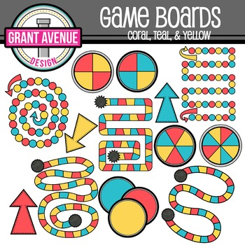 Game Boards Clipart - Coral, Teal, and Yellow - Gameboards