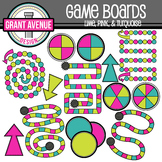 Game Boards Clipart - Lime, Pink, and Turquoise - Gameboards Clip Art