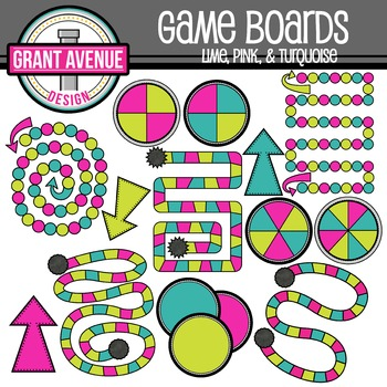 Game Boards Clipart - Lime, Pink, and Turquoise - Gameboar