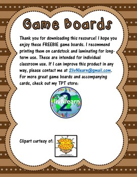 Game Boards FREEBIE! (Set 3)
