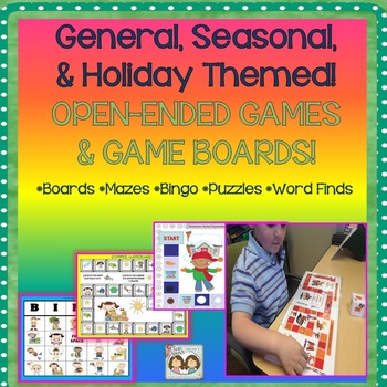 General, Seasonal, & Holiday Themed OPEN-ENDED GAMES & GAME BOARDS!
