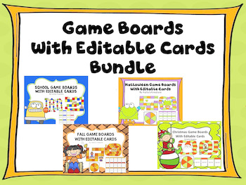 Game Boards With Editable Cards Bundle
