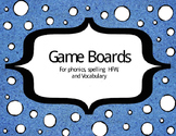 Game Boards for Phonics, Spelling, HFW, and Vocabualry