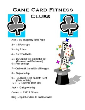 Physical Education - Game Card Fitness
