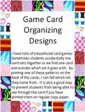 Game Card Organizing Designs