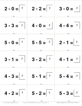 Game Cards SUBTRACTION