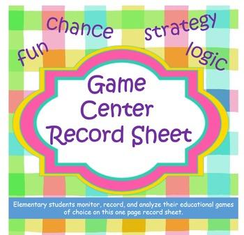 Game Center Record Sheet