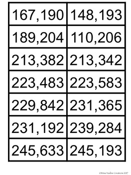 Game: Comparing Large Numbers up 100,000-1,000,00 Math Center