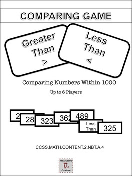 Game: Comparing Numbers up to 1000-  For Math Center- 2.NBT.A.4