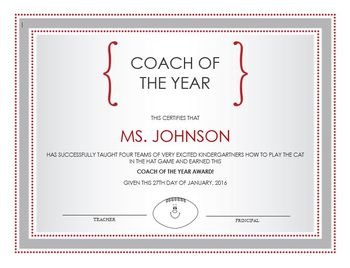 Game Day Certificate