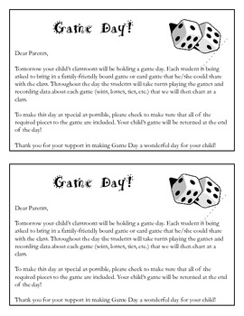 Game Day Parent Letter
