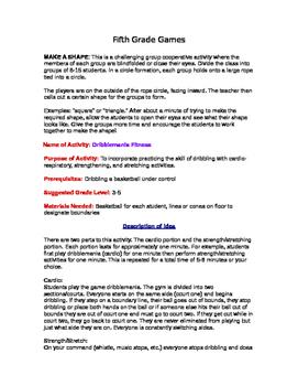Game Descriptions for Classroom Teachers Fifth grade