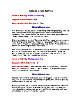 Game Descriptions for Classroom Teachers Second grade
