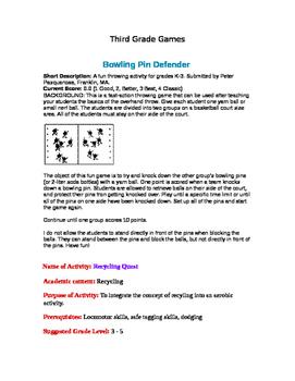 Game Descriptions for Classroom Teachers Third grade