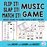 "Music Notes & Names Lesson, Game, Flash Cards   ""FLIP IT, SLAP IT, MATCH IT"""