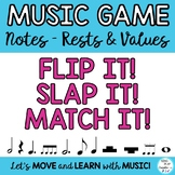 "Music Notes & Names Lesson, Game, Flash Cards   ""FLIP IT,"