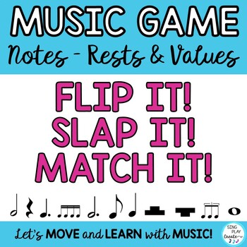 """Music Notes & Names Lesson, Game, Flash Cards   """"FLIP IT,"""