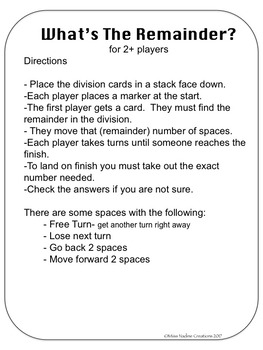 Game: Finding the Remainder in Division for Math Center/mental math