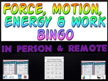 Game: Force, Motion, Energy & Work bingo