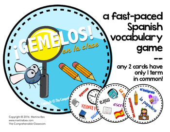 Game: GEMELOS - En la clase: A partner vocabulary game in Spanish