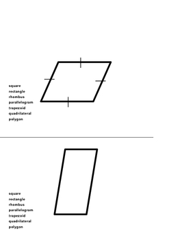 Game: Identify each quadrilateral with all of the vocabulary that appl 5.G.B.3