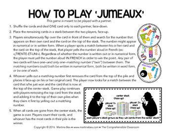 Game: JUMEAUX - Les nombres: A partner vocabulary game in French