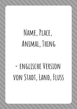 """Game """"Name, Place, Animal, Thing"""""""