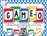 Game-O: Create Your Own Game {Fully Editable Template}