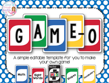 """Game-O: Create Your Own """"Uno"""" Game {Fully Editable Template}"""