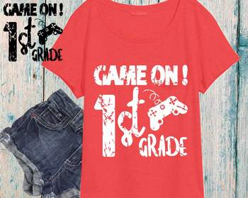 Game On 1st Grade Silhouette SVG Cutting Files ClipArt First gamer gaming 886s