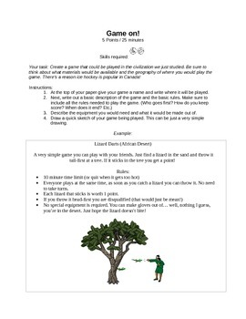Game On! - Social Studies Interactive Notebook Activity